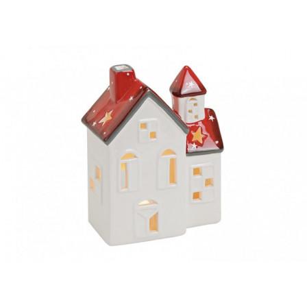 Domček keramický bielo-červený 13x7x17cm