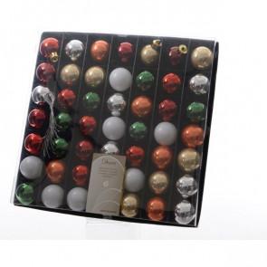 Vánoční plastové ozdoby 49ks barevný mix