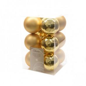 Vánoční plastové ozdoby 12ks zlatá