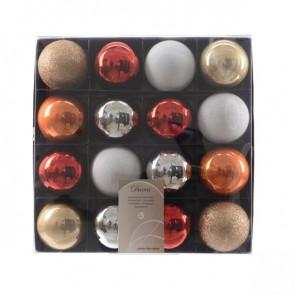 Vánoční plastové ozdoby 16ks mix barev červená/stříbrná/bronzová