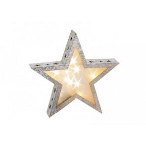 Svietiace hviezda drevená 28x6x28cm