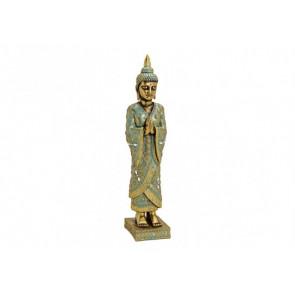 Buddha stojí na podstavci Polyresin 13x55x13cm