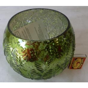 Svietnik okrúhly sklenený zelený 18x15cm