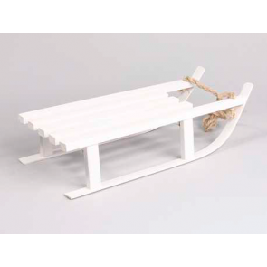 Dekorácie drevené sánky biele 7x16cm