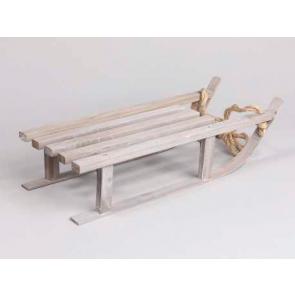 Dekorácie drevené sánky šedej 7x16cm