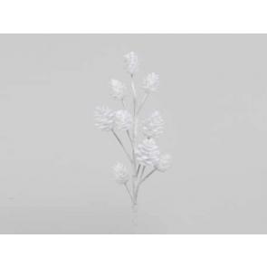 Dekorácie Šišková vetva, 35cm, biela, 1ks