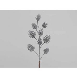 Dekorácie Šišková vetva, 35cm, strieborná, 1ks