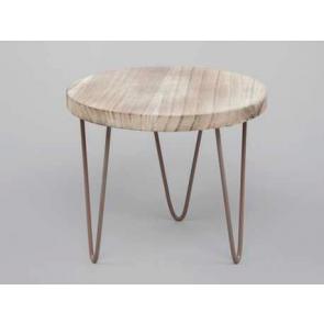 Drevený stolík kovové nohy 23x20cm