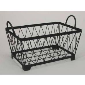Kovový košík držadlá hranatý čierny 32x20x17cm