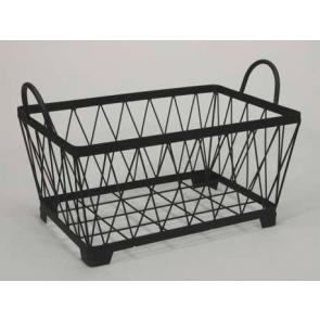 Kovový košík držadlá hranatý čierny 39x25,5x19cm