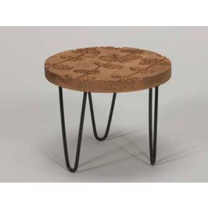 Drevený stolík kovové nohy 20x16cm