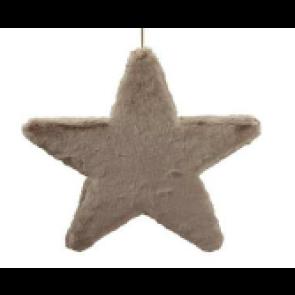 Dekorácia hviezda látková šedo-hnedá 25cm