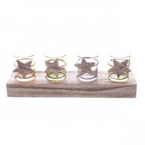Sklenený lampášikov na drevené základni