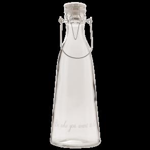 Skleněná lahev s víčkem s těsněním, nápis