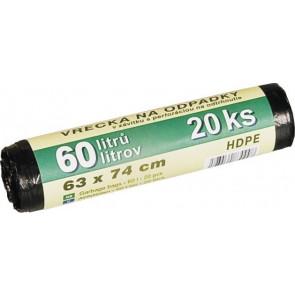 Sáčky na odpadky 60L - 20ks, HDPE