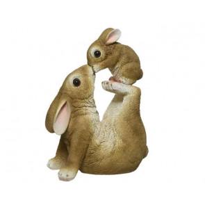 Dekorácia králiček s zajačikom z polyresin