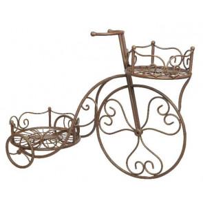 Držiak na kvetináč kovový, bicykel medené