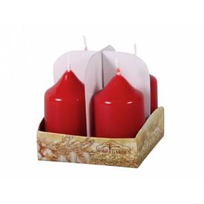 Svíčka adventní lakovaná d4x7cm 4ks červená