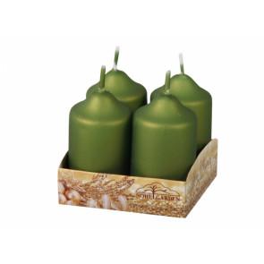 Sviečka adventná metalická matná d4x7cm 4ks, olivová