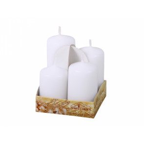 Sviečky adventné stupňovité matné d4x6/7/8/9cm 4ks, matná biela