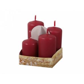 .Svíčky adventní STUPŇOVITÉ matné d4x6/7/8/9cm 4ks  bordó