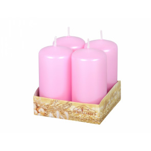 Svíčka advent. d4x8cm/4ks/metal lesk/perleť růžová