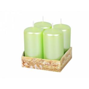 Svíčka advent. d4x8cm/4ks/metal lesk/perleť světle zelená