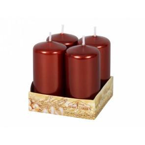 Svíčka adventní d4x8cm/4ks metalická tmavě hnědá