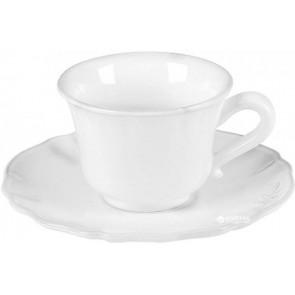 Hrnek na čaj s podšálkem Barocco, bílý EGO