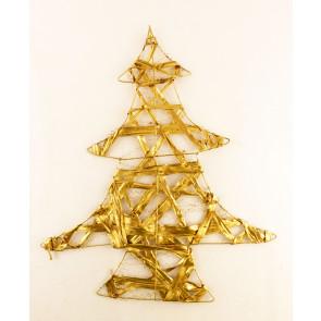 Dekorace stromeček plochý   45 cm zlatá
