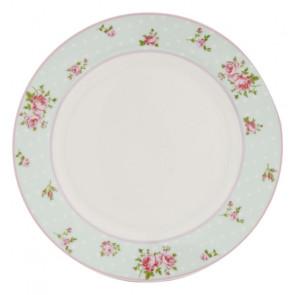 Dezertní talíř 22 cm, světle modrý, puntíky a květiny