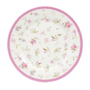 Dezertní talíř 22 cm, růžový, kvítky