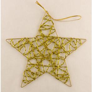 Dekorace hvězda plochá  20cm zlatá