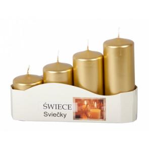 Svíčky adventní STUPŇOVITÉ d5x7,9,11,13cm 4ks/metalická zlatá