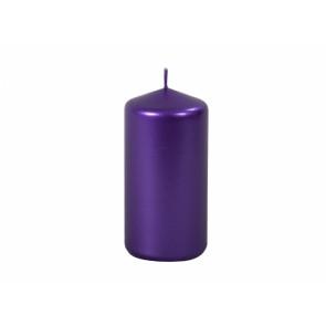 Sviečka METALIK VALEC 5x10cm / metalická lesklá fialová