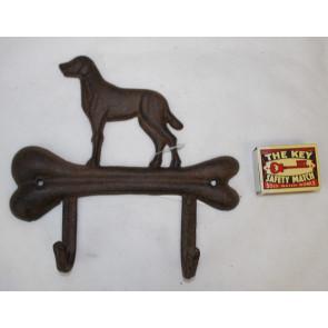 Vešiak kosť a pes liatina 18x18,5x4cm