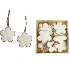 Kovové kvety biele, 10ks