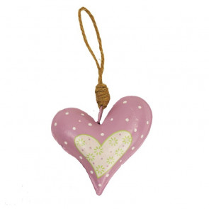 Srdce kovové ružové