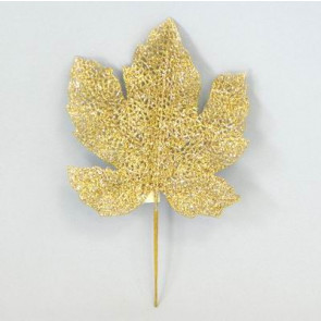 Přízdoba list zápich pr.17 cm zlatá