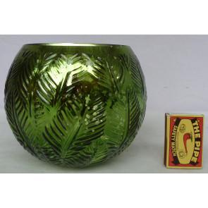 Svietnik okrúhly sklenený zelený 15x13cm