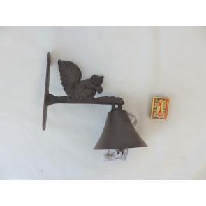 Zvonček s veveričkou liatina 22x16x4cm