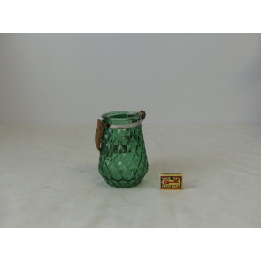 Sklenený svietnik tmavo zelený 11x15,5cm GO