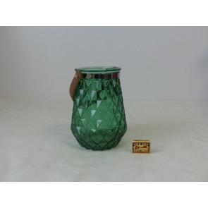 Sklenený svietnik tmavo zelený 15x22cm GO