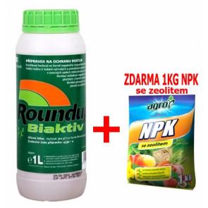 Roundup biaktiv 1l + zdarma NPK 1kg pro celou zahradu