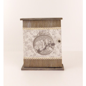 Dřevěná skříňka na klíče šedá s květinovým dekorem